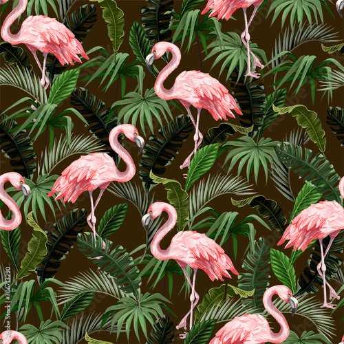 Seamless pattern with flamingo and tropical leaves. Vector.