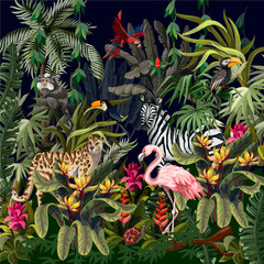 Fototapeta Liście Jungle landscape with wild animals. Vector.