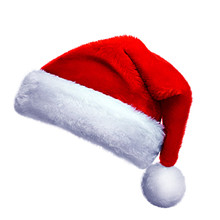 Realistic Collection (set) Of Isolated Real Red Santa Hats . New Year Big Size High Resolution Hats On A Solid Color Background.