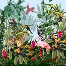 Jungle Landscape With Wild Animals. Vector.