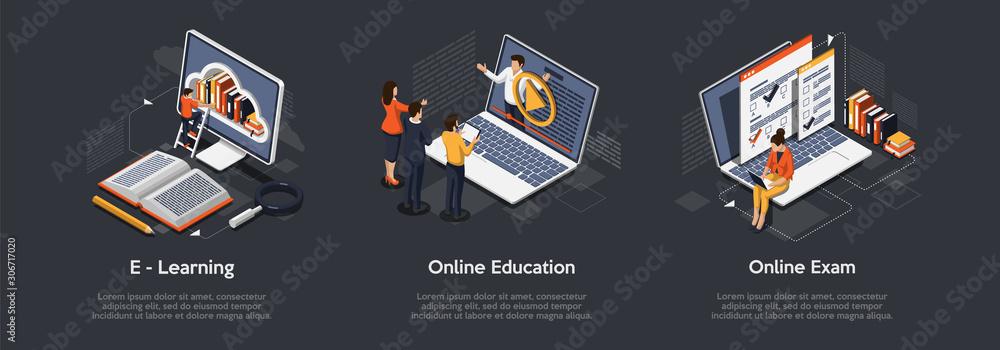 Fototapeta Isometric set of education concept. E-Learning, Online education, online exam.