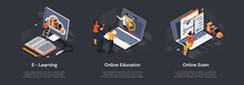 Isometric Set Of Education Con...