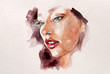 Beautisul abstract watercolor illustration of a young woman with red lipstick and blue eyes, realistic portrait