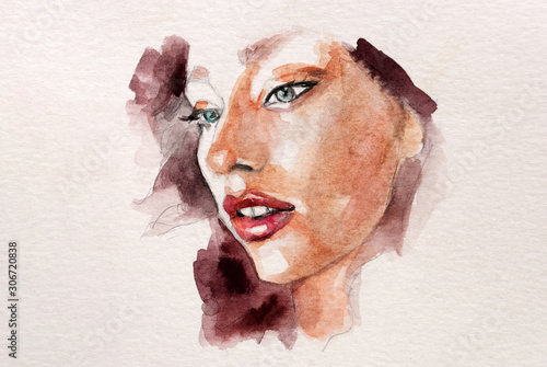 Fotografía Beautisul abstract watercolor illustration of a young woman with red lipstick an