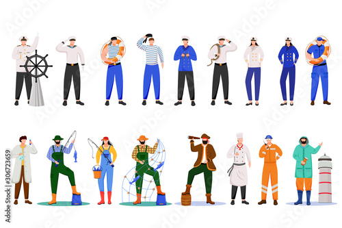 Photo Maritime professions flat vector illustration