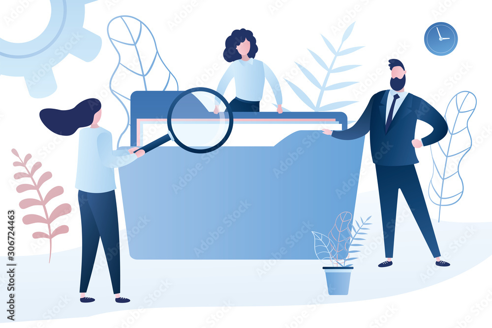 Fototapeta Business people searching through files. Humans with folder and female clerk use magnifying glass