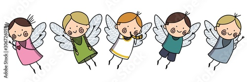 Cute Baby Angels with Wings Set, Adorable Boys And Girls Cartoon Characters in Cupid or Cherub Costumes Raster Illustration - 306726059