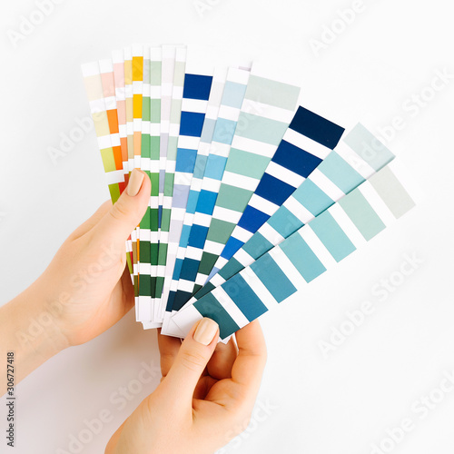 Female hand holding color swatches Canvas