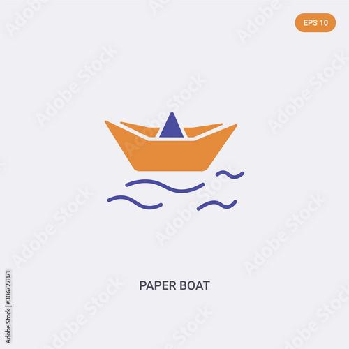 2 color Paper boat concept vector icon Fotobehang