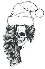 Woman Skull Of Bad Santa Claus...