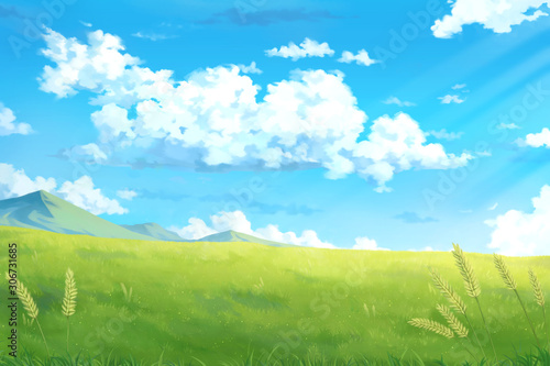 Day sky clouds - Anime Background. - 306731685