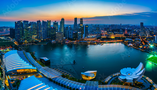Singapore financial district skyline at night, Singapore city Canvas Print