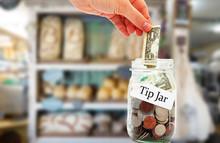 Tip Jar Money In A Restaurant
