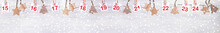 Christmas Banner: Part Of Advent Calendar With Numbers On Sheets And Christmas Toys On White Wooden Snowy Background.