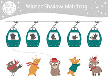 Winter Shadow Matching Activity For Children With Animals In Funicular Cable Cars. Cute Funny Smiling Fox, Squirrel, Bird, Bear, Deer. Find The Correct Silhouette Game..