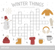 Vector Winter Things Crossword Puzzle. Bright And Colorful Winter Quiz For Children. Educational Activity With Cold Season Elements..