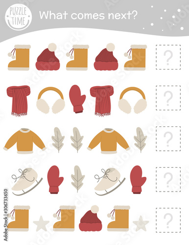 What comes next. Winter matching activity for preschool children with clothes and objects. Funny game for kids. Logical quiz worksheet. Continue the row..