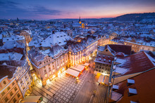 Prague Wonderful Early Night During Christmas In December, In Czech Republic, Europe