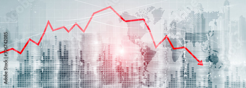 Fototapeta Chart with red down arrow on abstract background. Falling growth in business obraz