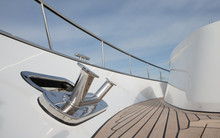 At The Deck Of A Yacht. Shipbuilding Industry. Yachting. Yachtbuilding. Railing. Motorboat. Luxury.