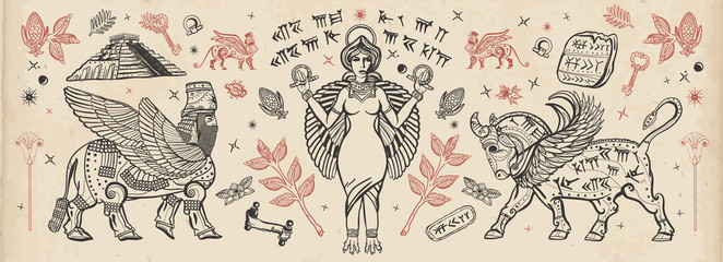 Ancient Sumerian Civilization. Old school tattoo collection. Assyrian culture...