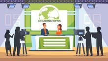 TV News Studio. Backstage With Crew Cameraman Light And Equipment, Television News Broadcasting Productions. Vector Clipart Scene Photographers With Professional Camera In Room For Shooting News Media
