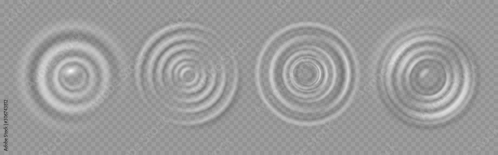 Fototapeta Water ripple. Realistic caustic drop or sound wave splash effects, concentric circles in puddle. Vector set round wave surfaces on transparent background
