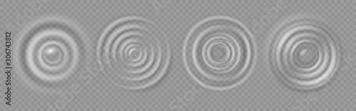 Obraz Water ripple. Realistic caustic drop or sound wave splash effects, concentric circles in puddle. Vector set round wave surfaces on transparent background - fototapety do salonu
