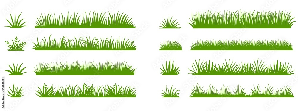 Fototapeta Green grass silhouette. Cartoon lines of plants and shrubs for boarding and framing, eco and organic logo element. Vector set spring field planting shapes lawn or borders garden on white background
