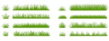Green Grass Silhouette. Cartoon Lines Of Plants And Shrubs For Boarding And Framing, Eco And Organic Logo Element. Vector Set Spring Field Planting Shapes Lawn Or Borders Garden On White Background