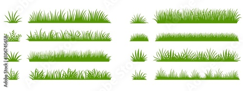 Fototapeta Green grass silhouette. Cartoon lines of plants and shrubs for boarding and framing, eco and organic logo element. Vector set spring field planting shapes lawn or borders garden on white background obraz