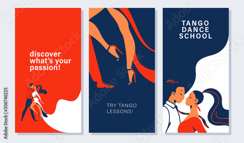Collection of banners and cards with tango dancers pair in flat minimalistic style Canvas Print