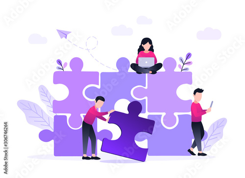Fototapety, obrazy: Finding solution, problem solving. Teamwork and partnership. Working team collaboration, enterprise cooperation, colleagues mutual assistance concept. Website homepage header landing web page template