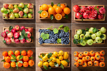 food collage of fresh fruits in a wooden boxes