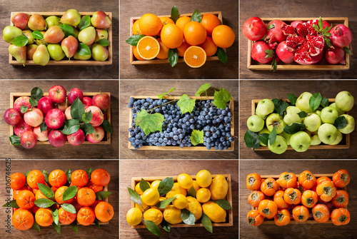 Fotografía food collage of fresh fruits in a wooden boxes