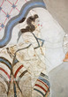 canvas print picture - Wall painting of the ancient House of the Ladies depicting a female figure from Minoan Settlement of Akrotiri, located on the Santorini island, Cyclades, Greece