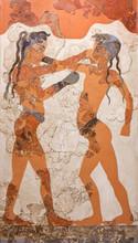 Wall Painting Fresco Of Boxing Boys From Minoan Settlement Of Akrotiri On Santorini Island, Cyclades, Greece