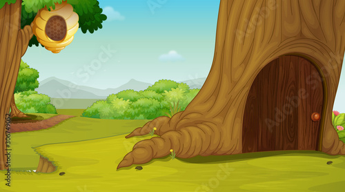 Background scene with house in the tree