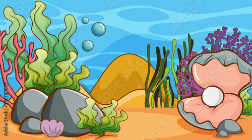 Scene with seaweed and pearl underwater