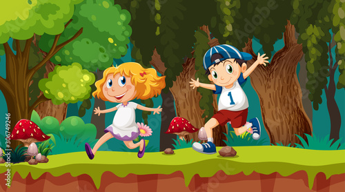 Kids running in woods scene