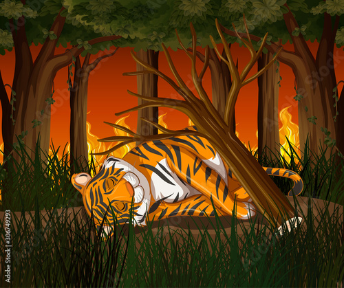 Deforestation scene with tiger and wildfire