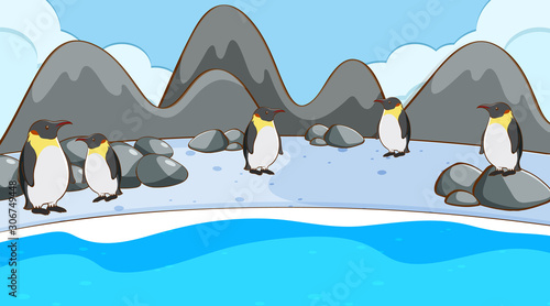 Foto auf Leinwand Kinder Scene with penguins on ice