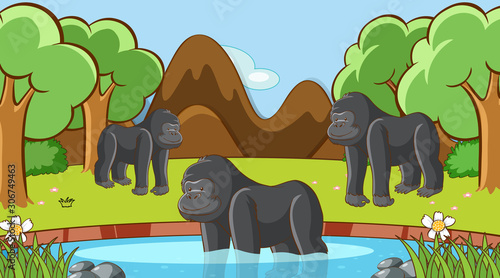 Foto auf Leinwand Kinder Scene with gorilla in the forest
