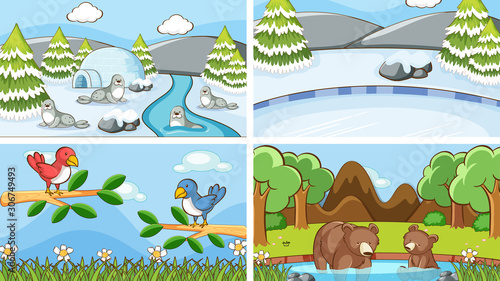 Foto auf Leinwand Kinder Background scenes of animals in the wild