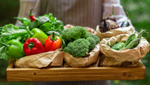 Female Farmer Carrying Raw Organic Vegetables On Big Wooden Tray