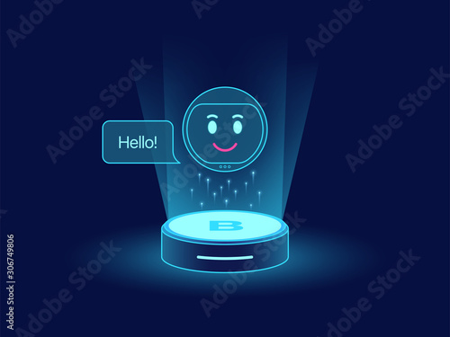 Photo Cute chat bot, virtual voice assistant