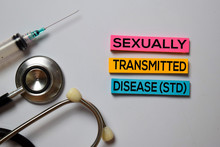 Sexually Transmitted Disease (STD) Text With Isolated On White Board Background. Medical Concept