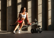 Fit Female Sitting On Fitness ...