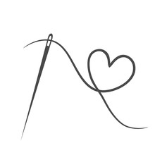 Heart With A Needle Thread Icon For Design On White. Vector Illustration