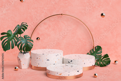 Photo Terrazzo and gold pedestal steps on pastel background with monstera plant leaves